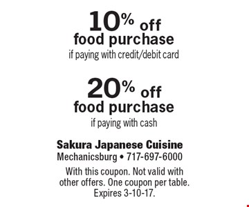 10% off food purchase if paying with credit/debit card OR 20% off food purchase if paying with cash. With this coupon. Not valid with other offers. One coupon per table. Expires 3-10-17.