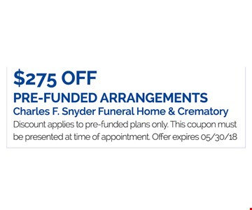 $275 Off Pre-Funded Arrangements