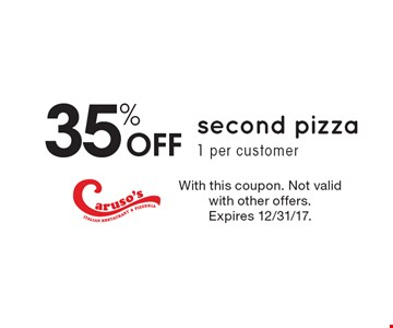 35% Off second pizza, 1 per customer. With this coupon. Not valid with other offers. Expires 12/31/17.