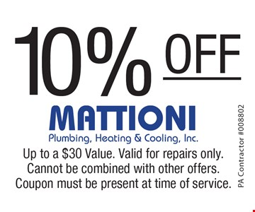 10% off services. Up to a $30 Value. Valid for repairs only. Cannot be combined with other offers. Coupon must be present at time of service.