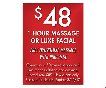 $48 1-Hour Massage Or Luxe Facial