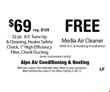 $69 (reg.$129) 32 pt. A/C Tune Up & Cleaning, Heater Safety Check, 1