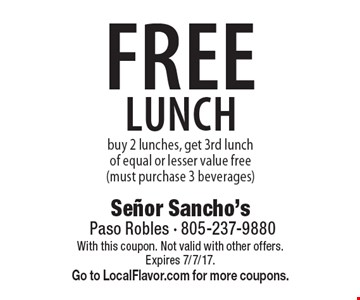 FREE lunch buy 2 lunches, get 3rd lunch of equal or lesser value free (must purchase 3 beverages). With this coupon. Not valid with other offers. Expires 7/7/17. Go to LocalFlavor.com for more coupons.