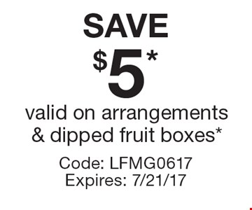 SAVE $5* valid on arrangements & dipped fruit boxes*. Code: LFMG0617 Expires: 7/21/17*Cannot be combined with any other offer. Restrictions may apply. See store for details. Edible®, Edible Arrangements®, the Fruit Basket Logo, and other marks mentioned herein are registered trademarks of Edible Arrangements, LLC. © 2017 Edible Arrangements, LLC. All rights reserved.