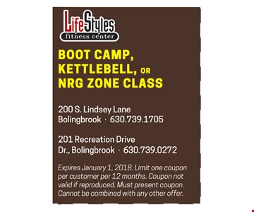 Boot camp, kettlebell or NRG zone class