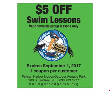 $5 off swim lessons, valid towards group lessons only