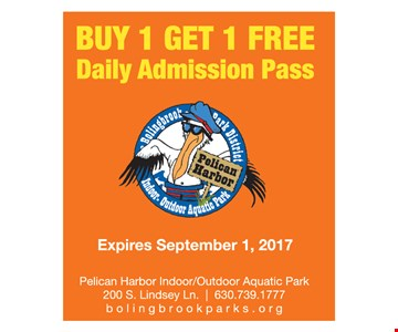 Buy 1 get 1 free daily admission