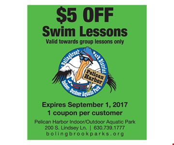 $5 Off Swim Lessons. Valid toward group lessons only.