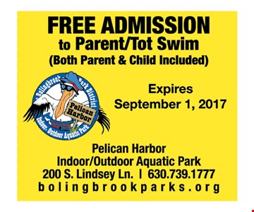 Free Admission to Parent/Tot Swim (both parent & child included)