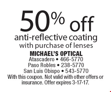 50% off anti-reflective coating with purchase of lenses. With this coupon. Not valid with other offers or insurance. Offer expires 3-17-17.