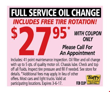 Oil change & Tire Rotation for $27.95