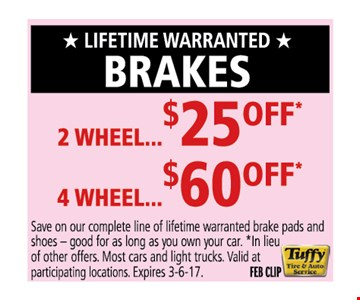 $25 off for 2 wheels or $60 off for 4