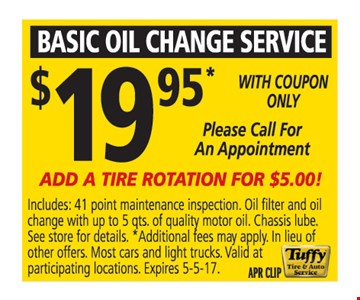 Basic Oil Change $19.95