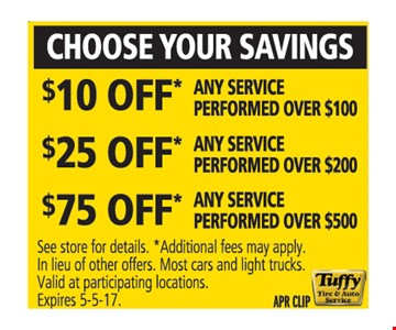 Choose Your Savings $10, $20 or $30 Off