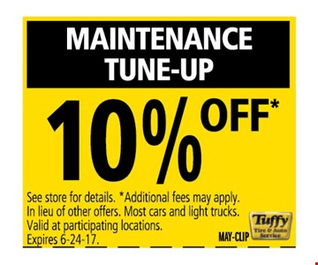 Maintenance tune-up 10% off