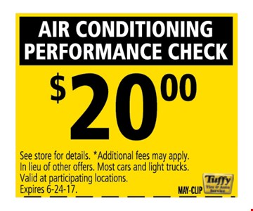 Air conditioning performance check $20Buy 3 get 1
