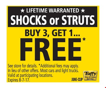 shocks or struts buy 3, get 1 free