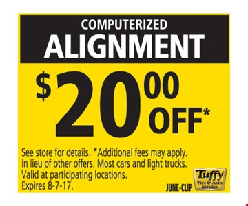 computerized alignment $20.00 off