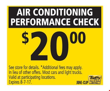air conditioning performance check $20.00