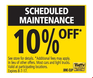 scheduled maintenance 10% off