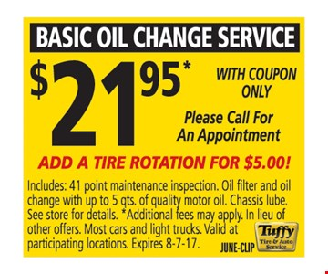 basic oil change service $21.95