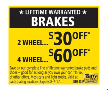 brakes up to $60 off