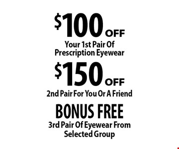 BONUS FREE 3rd Pair Of Eyewear From Selected Group. $150 off 2nd Pair For You Or A Friend. $100 off Your 1st Pair Of Prescription Eyewear. . *Valid only at Cohen's Fashion Optical in Sunrise Mall. See store for details. Not valid with other offers, sales, vision plans or packages. Some Rx restrictions apply. Select frames with clear plastic single vision lenses. Must present offer prior to purchase. Exp. 3/10/17.