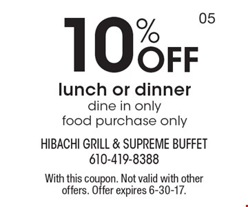 10% Off lunch or dinner, dine in only food purchase only. With this coupon. Not valid with other offers. Offer expires 6-30-17.