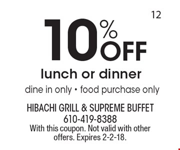 10% off lunch or dinner. Dine in only. Food purchase only. With this coupon. Not valid with other offers. Expires 2-2-18.