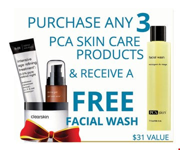 Purchase any 3 PCA skin care products & receive a free facial wash