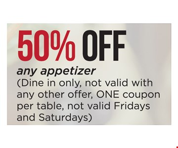 50% off any appetizer