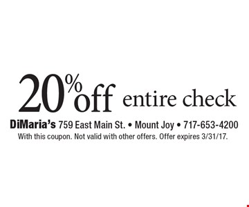 20% off entire check. With this coupon. Not valid with other offers. Offer expires 3/31/17.