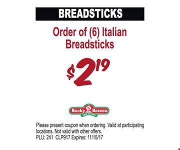Order of 6 Italian Breadsticks $2.19