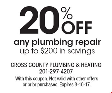 20% off any plumbing repair. Up to $200 in savings. With this coupon. Not valid with other offers or prior purchases. Expires 3-10-17.