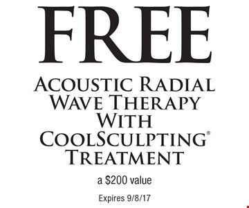 Free Acoustic Radial Wave Therapy With CoolSculpting Treatment (a $200 value). Expires 9/8/17