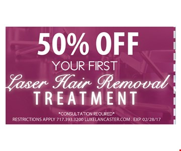 50% Off Your First Laser Hair Removal Treatment
