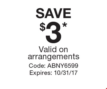 SAVE $3* Valid on arrangements. Code: ABNY6599 Expires: 10/31/17 *Cannot be combined with any other offer. Restrictions may apply. See store for details. Edible®, Edible Arrangements®, the Fruit Basket Logo, and other marks mentioned herein are registered trademarks of Edible Arrangements, LLC. © 2017 Edible Arrangements, LLC. All rights reserved.