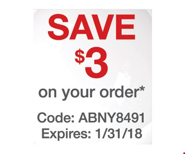 Save $3 on your order.