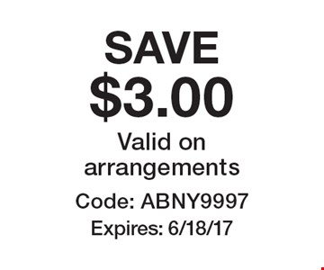 SAVE $3.00 Valid on arrangements Code: ABNY9997. Expires: 6/18/17 *Cannot be combined with any other offer. Restrictions may apply. See store for details. Edible®, Edible Arrangements®, the Fruit Basket Logo, and other marks mentioned herein are registered trademarks of Edible Arrangements, LLC. © 2017 Edible Arrangements, LLC. All rights reserved.