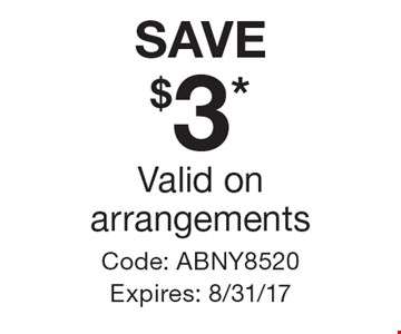 SAVE $3* Valid on arrangements. Code: ABNY8520 Expires: 8/31/17 *Cannot be combined with any other offer. Restrictions may apply. See store for details. Edible®, Edible Arrangements®, the Fruit Basket Logo, and other marks mentioned herein are registered trademarks of Edible Arrangements, LLC. © 2017 Edible Arrangements, LLC. All rights reserved.