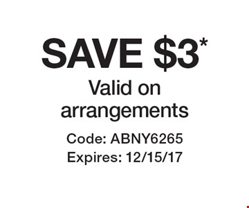 SAVE $3* Valid on arrangements . Code: ABNY6265 Expires: 12/15/17 *Cannot be combined with any other offer. Restrictions may apply. See store for details. Edible®, Edible Arrangements®, the Fruit Basket Logo, and other marks mentioned herein are registered trademarks of Edible Arrangements, LLC. © 2017 Edible Arrangements, LLC. All rights reserved.
