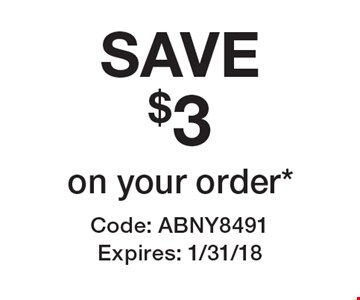 SAVE $3 on your order*. Code: ABNY8491 Expires: 1/31/18 *Cannot be combined with any other offer. Restrictions may apply. See store for details. Edible®, Edible Arrangements®, and the Fruit Basket Logo are registered Trademarks of Edible IP, LLC. © 2017 Edible IP, LLC. All Rights Reserved.