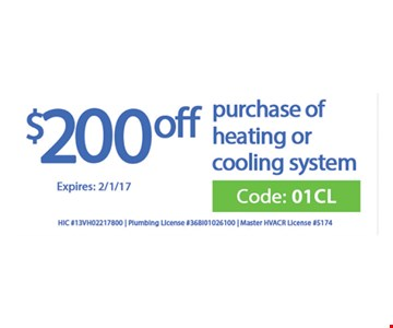 $200 off purchase of heating or cooling system
