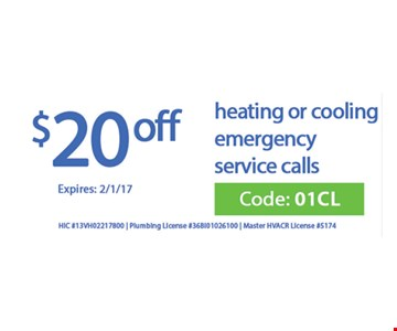 $20 off heating or cooling emergency service calls