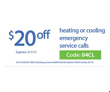 $20 off heating and cooling emergency service calls
