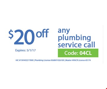 $20 Off any plumbing service call