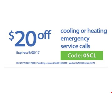 $20 off cooling or heating emergency service calls.