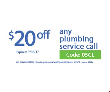 $20 off any plumbing service call.