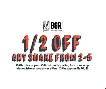 1/2 OFF any shake from 2-5