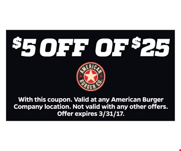 $5 Off of $25